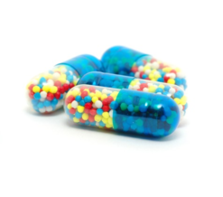 Pill capsules with colored filling