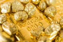 Gold bar with gold nuggets