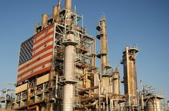 Oil refinery with american flag