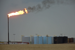 Oil flare at an oil field