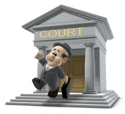 Animated lawyer at courthouse