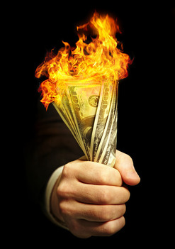 picture of burning dollars