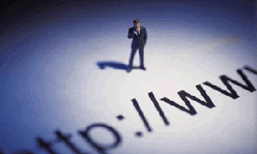 Image of Man Standing Over URL