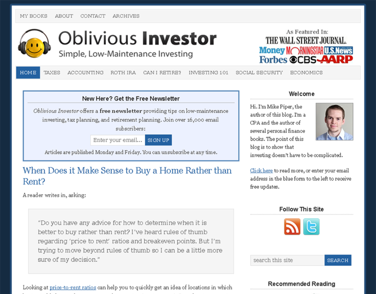 Oblivious Investor Webpage