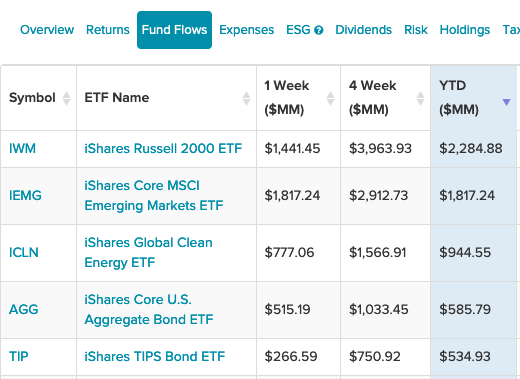 5 iShares ETFs Top Inflows
